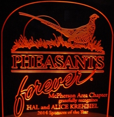 Pheasant Acrylic Lighted Edge Lit LED Sign / Light Up Plaque Full Size USA Original