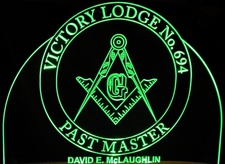 Mason Compass Sample Only ---Call In---- Acrylic Lighted Edge Lit LED Sign / Light Up Plaque Full Size USA Original