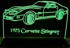 1975 Chevy Corvette Stingray Acrylic Lighted Edge Lit LED Sign / Light Up Plaque Full Size Made in USA