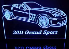 2011 Corvette Grand Sport Convertible Acrylic Lighted Edge Lit LED Sign / Light Up Plaque Full Size Made in USA