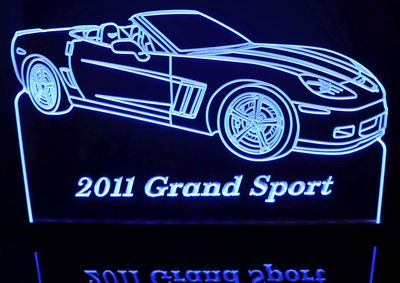 2011 Corvette Grand Sport Convertible Acrylic Lighted Edge Lit LED Sign / Light Up Plaque Full Size USA Original