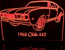 1968 Oldsmobile Cutlass 442 Acrylic Lighted Edge Lit LED Car Sign / Light Up Plaque