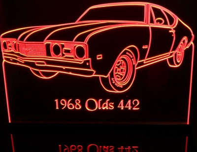 1968 Olds Cutlass 442 Acrylic Lighted Edge Lit LED Sign / Light Up Plaque Full Size Made in USA