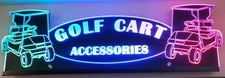 Golf Carts Award Business Logo Trophy Acrylic Lighted Edge Lit LED Sign / Light Up Plaque Full Size Made in USA Original