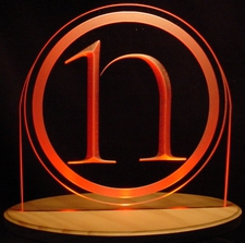 Circle N Business Logo Sample Only Design Not For Sale Acrylic Lighted Edge Lit LED Sign / Light Up Plaque Full Size USA Original