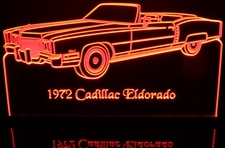 1972 Cadillac Eldorado Convertible Acrylic Lighted Edge Lit LED Sign / Light Up Plaque Full Size Made in USA
