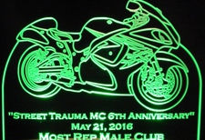 Award Trophy Presentation Street Trauma Acrylic Lighted Edge Lit LED Sign / Light Up Plaque Full Size Made in USA