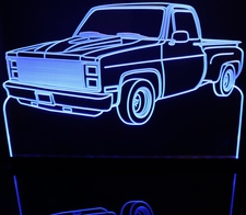1987 Chevy Pickup Truck Stepside Acrylic Lighted Edge Lit LED Sign / Light Up Plaque Full Size Made in USA