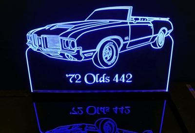 1972 Oldsmobile Cutlass 442 Conv OLDS Acrylic Lighted Edge Lit LED Sign / Light Up Plaque Full Size Made in USA