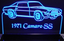 1971 Camaro SS Acrylic Lighted Edge Lit LED Sign / Light Up Plaque Full Size Made in USA