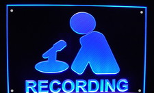 Recording Wall or Hanging Acrylic Lighted Edge Lit LED Sign / Light Up Plaque Full Size USA Original