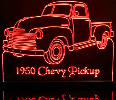 1950 Chevy Pickup Truck No Visors Acrylic Lighted Edge Lit LED Sign / Light Up Plaque Full Size USA Original