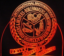 Trophy Award Presentation Boilermakers Acrylic Lighted Edge Lit LED Sign / Light Up Plaque Full Size Made in USA
