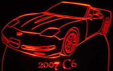 2007 Corvette C6 Convertible Acrylic Lighted Edge Lit LED Sign / Light Up Plaque Full Size Made in USA