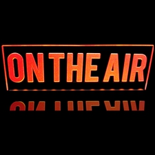 ON THE AIR Desk Mount Acrylic Lighted Edge Lit LED Sign / Light Up Plaque Full Size Made in USA