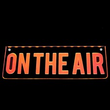 ON THE AIR Recording Flat to the Wall mount Acrylic Lighted Edge Lit LED Sign / Light Up Plaque Full Size Made in USA