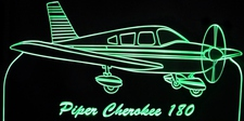 Piper Cherokee 180 Airplane Acrylic Lighted Edge Lit LED Sign / Light Up Plaque Full Size Made in USA