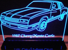 1987 Monte Carlo Acrylic Lighted Edge Lit LED Sign / Light Up Plaque Full Size Made in USA
