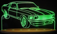 1970 Mustang Acrylic Lighted Edge Lit LED Sign / Light Up Plaque Full Size Made in USA