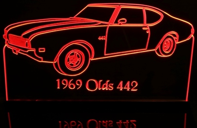 1969 Oldsmobile Cutlass 442 Acrylic Lighted Edge Lit LED Sign / Light Up Plaque Full Size Made in USA