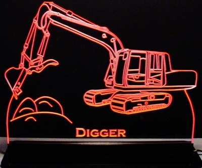 Trophy Award Retirement Digger Acrylic Lighted Edge Lit LED Sign / Light Up Plaque Full Size Made in USA