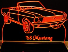 1968 Mustang Convertible Acrylic Lighted Edge Lit LED Sign / Light Up Plaque Full Size Made in USA