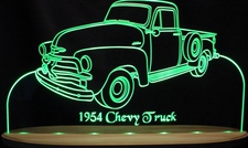 1954 Chevy Pickup Chevrolet Acrylic Lighted Edge Lit LED Sign / Light Up Plaque Full Size Made in USA