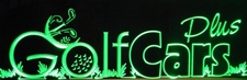 Golf Cars Plus Business Logo Acrylic Lighted Edge Lit LED Sign / Light Up Plaque Full Size USA Original