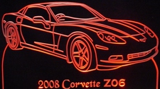 2008 Corvette Z06 Acrylic Lighted Edge Lit LED Sign / Light Up Plaque Full Size USA Original