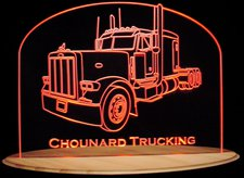 1998 Semi Peterbilt Acrylic Lighted Edge Lit LED Sign / Light Up Plaque Full Size Made in USA