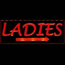Ladies Mens Restroom Gents Bathroom Rest Women Men CEILING MOUNT or Flat to Wall Mount Acrylic Lighted Edge Lit LED Sign / Light Up Plaque Full Size Made in the USA