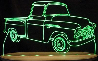 1955 Chevy Pickup Chevrolet Acrylic Lighted Edge Lit LED Sign / Light Up Plaque Full Size Made in USA