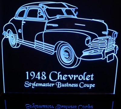 1948 Stylemaster Business Coupe Acrylic Lighted Edge Lit LED Sign / Light Up Plaque Full Size USA Original