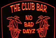 Bar Sign Club Acrylic Lighted Edge Lit LED Sign / Light Up Plaque Full Size Made in USA