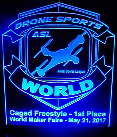 Trophy Award Trophies Drone Acrylic Lighted Edge Lit LED Sign / Light Up Plaque Full Size Made in USA