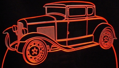 1928 Ford Model A Acrylic Lighted Edge Lit LED Sign / Light Up Plaque Full Size USA Original