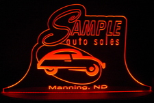 Sample Auto SAMPLE ONLY Advertising Business Logo Acrylic Lighted Edge Lit LED Sign / Light Up Plaque