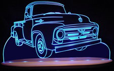 1956 Ford F250 Pickup Truck Acrylic Lighted Edge Lit LED Sign / Light Up Plaque