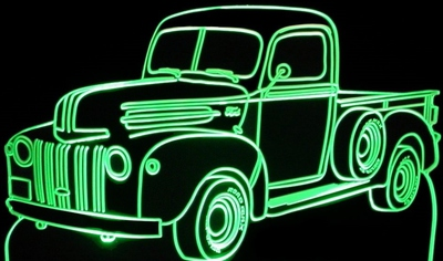 1947 Ford Pickup Truck Acrylic Lighted Edge Lit LED Sign / Light Up Plaque
