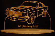 1967 Ford Mustang GT Acrylic Lighted Edge Lit LED Car Sign / Light Up Plaque
