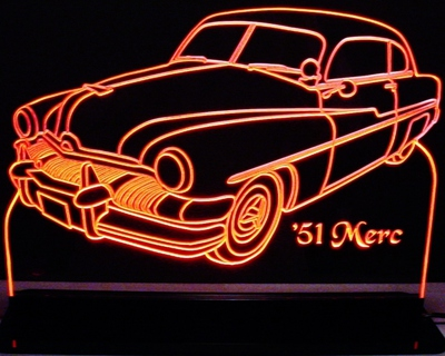 1951 Mercury Acrylic Lighted Edge Lit LED Car Sign / Light Up Plaque