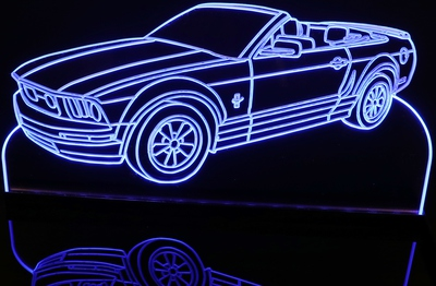 2006 Mustang GT Convertible Acrylic Lighted Edge Lit LED Car Sign / Light Up Plaque Full Size USA Original