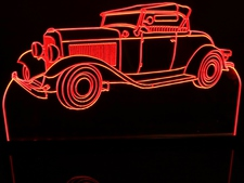 1932 Ford Roadster Acrylic Lighted Edge Lit LED Car Sign / Light Up Plaque