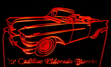 1957 Cadillac Eldorado Biarritz Convertible Acrylic Lighted Edge Lit LED Car Sign / Light Up Plaque