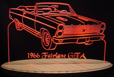 1966 Ford Fairlane GTA Convertible Acrylic Lighted Edge Lit LED Car Sign / Light Up Plaque Full Size USA Original