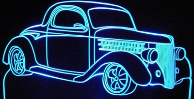 1936 Ford 3 Window Acrylic Lighted Edge Lit LED Car Sign / Light Up Plaque