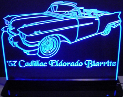 1957 Eldorado Biarritz Acrylic Lighted Edge Lit LED Sign / Light Up Plaque Full Size Made in USA