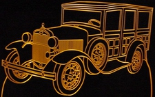 1930 Ford Model A Woody Acrylic Lighted Edge Lit LED Car Sign / Light Up Plaque