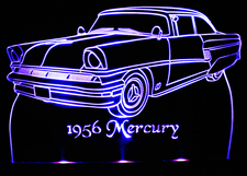 1956 Mercury Acrylic Lighted Edge Lit LED Car Sign / Light Up Plaque
