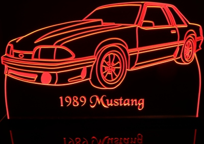 1989 Mustang GT Acrylic Lighted Edge Lit LED Sign / Light Up Plaque Full Size Made in USA